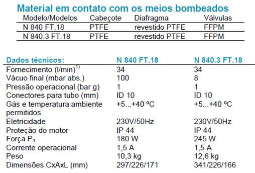 Bomba de Vácuo KNF N840 FT18