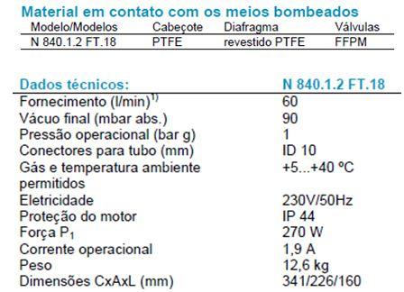 Bomba de Vácuo KNF 840.1.2 FT18