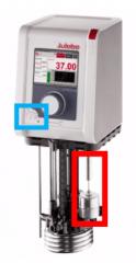 Boia de nível de fluido (vermelho) e Termostato de segurança (azul)