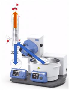 Imagem 2 – Fluxo de amostra (setas em azul) e vácuo (seta laranja)