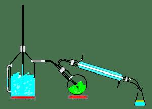 Montagem de equipamento de laboratório para destilação a vapor